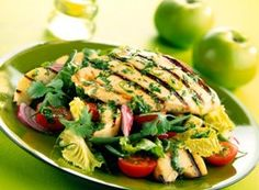 Chargrilled Chicken and Bramley Salad Recipe Bramley Apple Recipes, Chargrilled Chicken, Salad Dishes, Fusion Food, Healthy Eating Recipes, Salmon Burgers, Food Inspiration, Salad Recipes, Good Food
