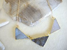 Druzy Necklace, Druzy Stone Necklace, Druzy Triangle Necklace, Geometric Jewelry, 14K Gold Filled Necklace, Druzy Jewelry Gifts For Her by GemJewelrybyHWestNY on Etsy