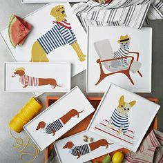 Claudia Pearson Dog Plates  Brooklyn artist Claudia Pearson has illustrated everything from children's books to New Yorker pages. She designed an exclusive collection of porcelain platters featuring daring dogs just for us.