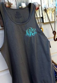 Monogrammed Tank Top for Ladies, Script Monogram Swim Suit Cover Up or Gym, Personalized Embroidered