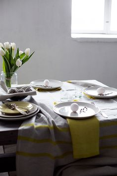 USVA napkins and tablecloth, 100% washed linen. Made in Finland by Lapuan Kankurit.
