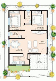 2 BHK floor plans of 20x30 House Plans, Metal House Plans, 2 Bedroom House Plans, My House Plans, House Layout Plans, Duplex House Plans, House Layouts, Shed Plans, Bungalow House Design