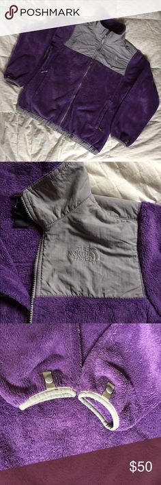 """North Face Girl's Soft  Fleece Denali Jacket Very nice Denali jacket in purple and gray.  Has 2 zipper pockets elastic bottom and cuff snaps to hook into a shell. In very good used condition but has piling see the close up photo of the fleece's condition.  I took 2 photos of the fleece.  This is the soft fleece used for the Oso jacket.  Chest 42"""" and length is 25"""".  The fit is boxy. North Face Jackets & Coats"""