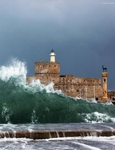 "*GREECE ~ ""A small tsunami"". Rhodes Island, Greece // by Dimitris Koskinas on Beautiful Castles, Beautiful Places, Greece Rhodes, Greek Beauty, Paradise On Earth, Tsunami, Greek Islands, Greece Travel, Crete"