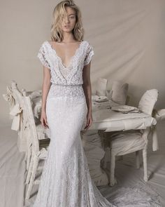10 Wedding Dress Designers You Want To Know About ❤ wedding dress designers sheath long overlay full lace sequin skirt lihi hod #weddingforward #wedding #bride