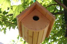 Cedar barrel shaped bird house on Etsy, $25.00