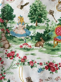 Alice in wonderland fabric blue base colour One by HanamiBoutique