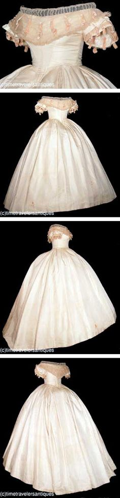Wedding gown, ca. 1862. Ivory silk faille two-piece gown with a boned and stayed bodice with fashionable deep hem points, and piped at the neckline, armscyes, and double box-pleated waistband. A pleated tulle bertha accented with silk velvet ribbons that repeat on the short sleeves, with a pleated tulle modesty insert above, and a lace-up closure at the back. Crinoline lining, turned hem. Time Travelers Antiques, via All the Pretty Dresses.