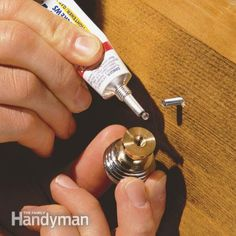 Thread-locking compound Tighten loose handles and knobs permanently the screws that hold handles and doorknobs always eventually work loose. A few drops of thread-locking compound will permanently fix the problem, yet still allow you to remove the screw with ordinary tools if you need to later.  Read more: http://www.familyhandyman.com/smart-homeowner/diy-home-improvement/handy-home-products-for-quick-fix-repairs/view-all#ixzz3J14l41Sj