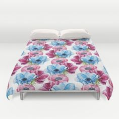 #flowers #floral #pink #blue #colorful #woman #girly #pretty #shabby #spring #duvetcover #bedroom available in different #homedecor products. Check more at society6.com/julianarw