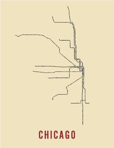 """Love this typography map of Chicago's """"L"""" system."""