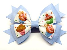 Hair bow for girls . Light blue bow cupcake . The size of the bow is 5 inches by 3 inches. Do not wash in a washing machine, only hand wash! When buying in a basket for a second product, +1 cents for shipping!!!!!!! After payment I will quickly send the order! Estimated shipping