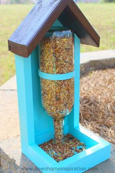 The neighborhood birds will all be flocking to your house to take a peek at your home made wine bottle bird feeder. Find full directions to build it here.