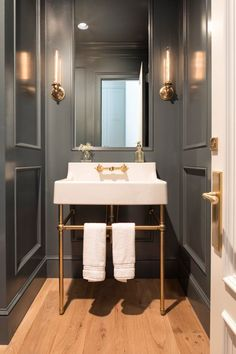 29 Guest Bathroom Ideas to 'Wow' Your Visitors Now it opens on a powder room. Ever since your powder room is smaller than your primary bathroom, it's smart to decide on a sink that's small, yet inc. Powder Room Decor, Powder Room Design, Powder Room Vanity, Powder Room Lighting, Bad Inspiration, Bathroom Inspiration, Bathroom Ideas, Bathroom Bin, Bathroom Canisters