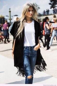 Fashion outfit, black and white with jeans