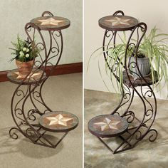 Verona Three Tier Plant Stand! Wrought Iron Love!  Visit stonecountyironworks.com for more wrought iron designs!