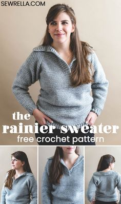 Crochet Free Pattern Crochet the comfy Rainier Sweater with a slouchy fit, V neckline, and stylish ribbing. Sizes and a photo tutorial to help you through - included in the free pattern! Crochet Woman, Crochet Baby, Free Crochet, Crochet Tops, Newborn Crochet, Crochet Bodycon Dresses, Black Crochet Dress, Tunisian Crochet, Crochet Cardigan