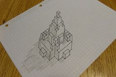 FUN WITH HALF SQUARE TRIANGLES -- This blogger is just doodling on graph paper, but imagine translating the design to piecework. This is the genesis of those mind-boggling 3-D illusions.
