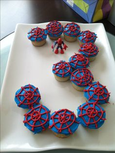 Spider-Man cupcake cake - for 3 year old birthday - Visit to grab an amazing super hero shirt now on sale!