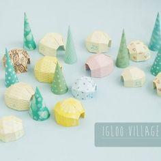 Origami pour un village Igloo pastel