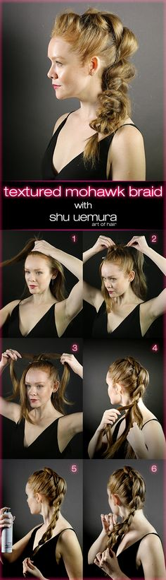 We heard the pleas. Now you can pull off that do-you-dare mohawk braid with ease. The trick? There is no braiding required. All it takes are some ponies and Texture Wave dry texturizing spray—your new go-to for expanding the hair with ease. Watch the video or follow our step-by-steps to master the Shu Uemura Art of Hair Textured Mohawk Braid, inspired by Gallery of Style.