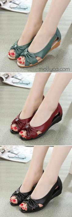 $37.95 USD Sale!SHOP NOW! Summer Hollow Fish Mouth leather Sandals Shoes For Women