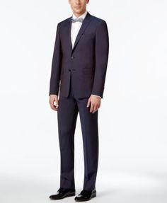 Calvin Klein Men's Extra Slim-Fit Wine Peak Lapel Suit | macys.com