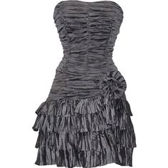 PacificPlex Crinkle Satin Strapless Ruffle Mini Dress Prom Formal... ($45) ❤ liked on Polyvore