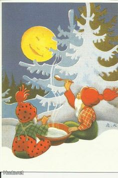 Fairy Land, Fairy Tales, Christmas Illustration, Red Hats, Vintage Christmas Cards, Lucky Charm, Goblin, Yule, Gnomes