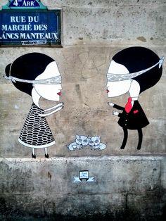 Fred le chevalier - street art - paris 4 - rue du marché des blancs manteaux