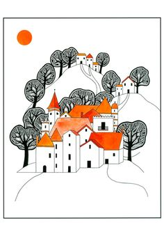 Illustration Art Print, Ink Drawing, Watercolor Painting, Hilltop Village, Orange Black, Graphic Art, Trees And Houses, 10 x 8 Print by caitlihne on Etsy https://www.etsy.com/listing/127731855/illustration-art-print-ink-drawing