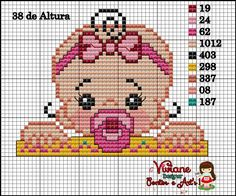 Baby girl pattern by Viviane Pontos e Art's Cross Stitch Boards, Mini Cross Stitch, Cross Stitch Heart, Simple Cross Stitch, Cross Stitching, Cross Stitch Embroidery, Easy Cross Stitch Patterns, Pixel Crochet, Kids Patterns