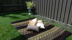 Recycled plastic rugs/mats and cushion covers. Great prices!