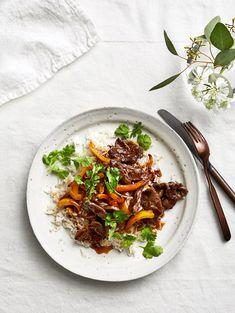 Get the recipe for Cumin-Lamb Stir Fry. Stir Fry Recipes, Lamb Recipes, Cooking Recipes, Healthy Recipes, Zoodle Recipes, Simple Recipes, Paleo Dinner, Dinner Recipes, Entree Recipes