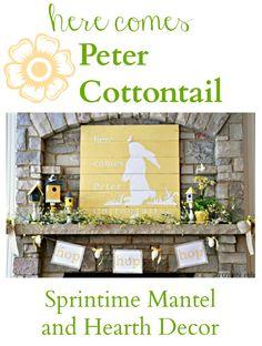 Here Comes Peter Cottontail {Spring Mantel} Pallet Art Decor