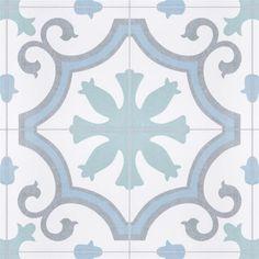 Merola Tile Lacour Aqua Encaustic in. Porcelain Floor and Wall Tile sq. / - The Home Depot Wall Patterns, Stone Tiles, Porcelain Tile, Wall Tiles, Interior And Exterior, Interior Design, Tile Floor, Home Improvement, Aqua