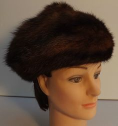 Vintage Mink Rich Brown Fur Beret Style Hat Excellent Condition 57cm great size