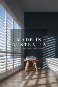 Our quality crafted, custom made window coverings are locally made in Australia to get to you sooner. Speak to our experts and start your home transformation today! Interior Paint, Interior Decorating, Interior Design, Door Design, House Design, Stacker Doors, British Colonial Style, Flat Ideas, Landscape Designs