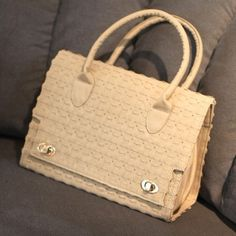 Womens Beige Weaved Four Leaf Clover Tote Bag