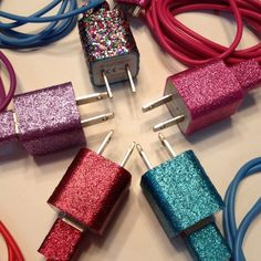 Sparkly Glitter iPhone Chargers Pink Blue Purple Red and Rainbow | eBay