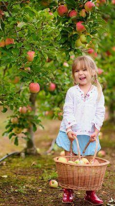 Kid and apple