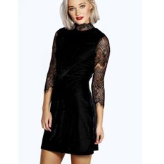 High neck lace velvet dress High neck velvet dress with laced detailing is perfect for the holidays up ahead & is extremely soft. Fits body nicely & is never worn! Only available in black velvet NOT blue; US 8 & UK 12 Boohoo Dresses Long Sleeve