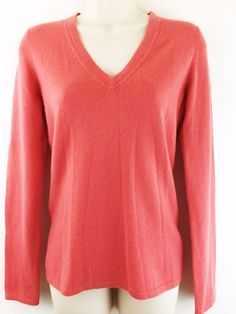 Christopher Fischer Womens Small 100% Cashmere Sweater Coral V Neck Pullover Top #ChristopherFischer #VNeck