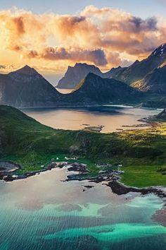 Wallpapers Lofoten Islands at sunset, Norway Beautiful Nature Scenes, Beautiful Landscapes, Beautiful Places, Amazing Nature, Lofoten, Places Around The World, Around The Worlds, Image Nature, In Natura