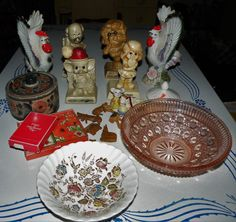 Vintage Estate junk drawer lot collectible Russ Berrie Figurines Rooster Vase 11