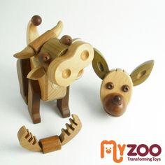 "Myzoo / マイズー /COW & FRIENDS / bovine and his colleagues makeover animal / transformer wooden toys ""'"