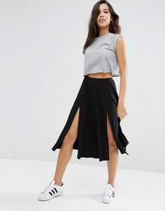 Image 1 of ASOS Midi Skirt with Splices