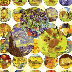 30 Van Gogh  Digital Party Stickers Circles size 1'', 20mm, 16mm, 14mm, 12mm…