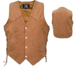 Mens Brown Leather Motorcycle Vest with Side Laces by Allstate Leather.  www.mymotorcycleclothing.com