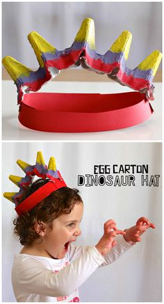 Egg Carton Dinosaur Hat Craft for Kids to make! A colorful and fun activity for a dinosaur unit in preschool or kindergarten! Kids Crafts, Hat Crafts, Daycare Crafts, Crafts For Kids To Make, Toddler Crafts, Dragon Crafts, Dinosaurs Preschool, Dinosaur Activities, Craft Activities